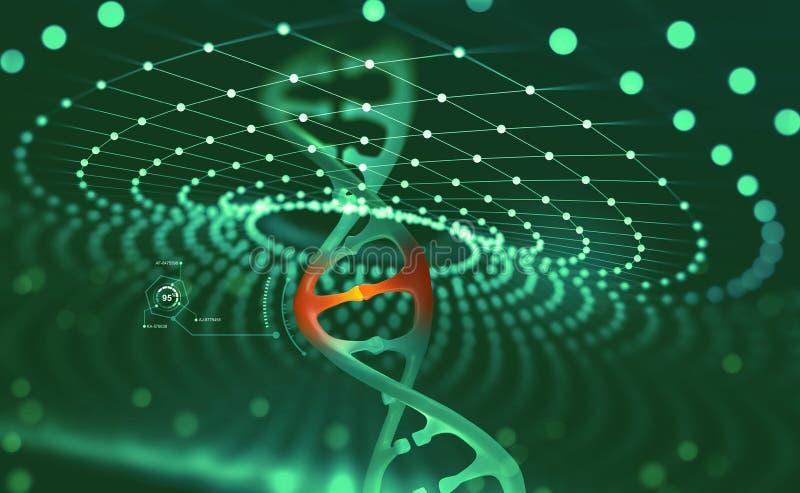 Genetische biologie wetenschappelijk concept Innovatieve technologieën in de studie van het menselijke genoom royalty-vrije illustratie
