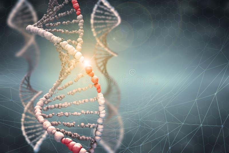 Genetische biologie wetenschappelijk concept Innovatieve technologieën in onderzoek van het menselijke genoom stock illustratie