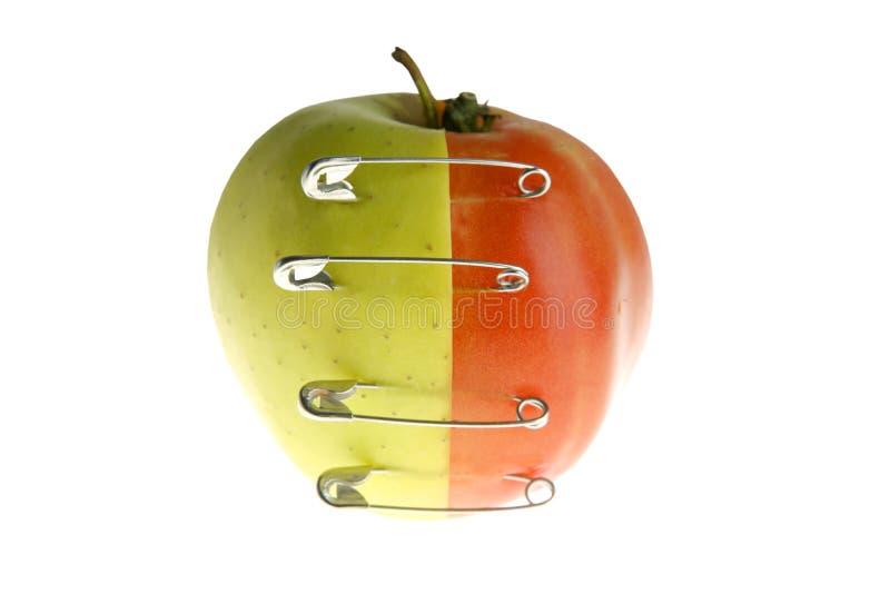 Genetische fruitmanipulatie met appel en tomaat stock afbeeldingen