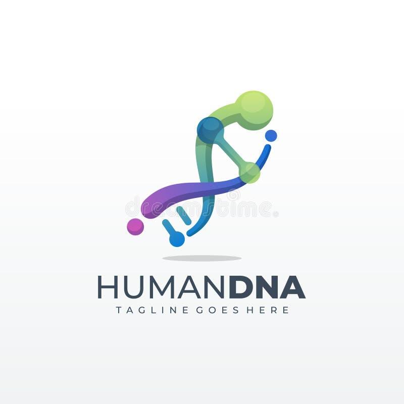 Genetisches Symbol DNA laufende und springende Mannikone Schablone vektor abbildung