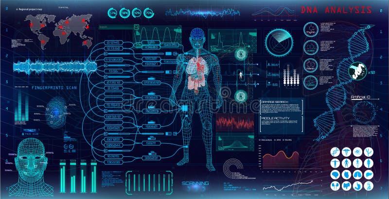 genetisk forskning Medicinsk undersökning royaltyfri illustrationer