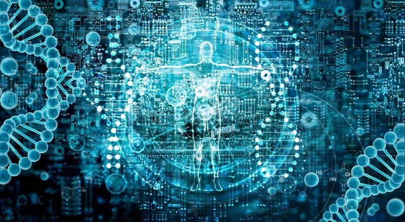 Genetisk forskning och Biotech vetenskapsbegrepp Tech för mänsklig biologi royaltyfri foto