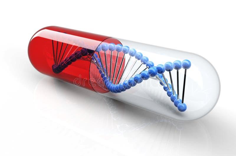 Genetisk medicin med dna som isoleras på vit vektor illustrationer