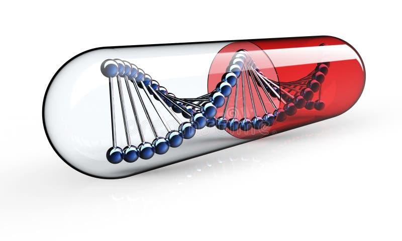 Genetisk medicin som isoleras på svart royaltyfri illustrationer
