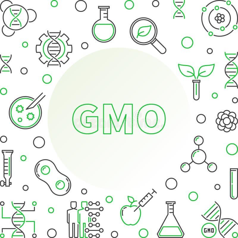 Genetiskt ändrad för vektorbegrepp för organism linjär ram stock illustrationer