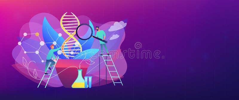 Genetiskt ändrad titelrad för växtbegreppsbaner vektor illustrationer
