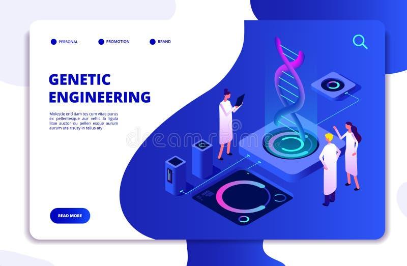 Genetiskt begrepp DNAnanoteknikbiokemi och DNAteknik för mänsklig genom Vektorlandning för molekylär biologi 3d royaltyfri illustrationer
