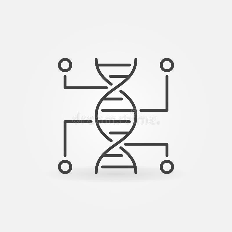 Genetiskt vektorlinje symbol för testa DNAöversiktssymbol vektor illustrationer