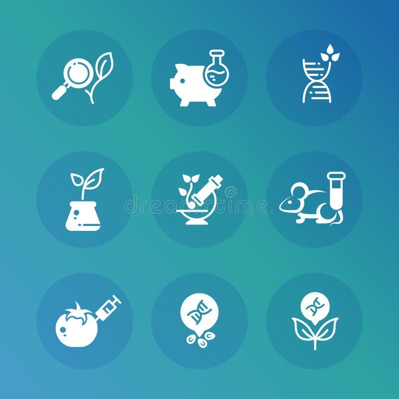 Genetyczna modyfikacji biotechnologia i dna badawcze wektorowe ikony ustawiać royalty ilustracja