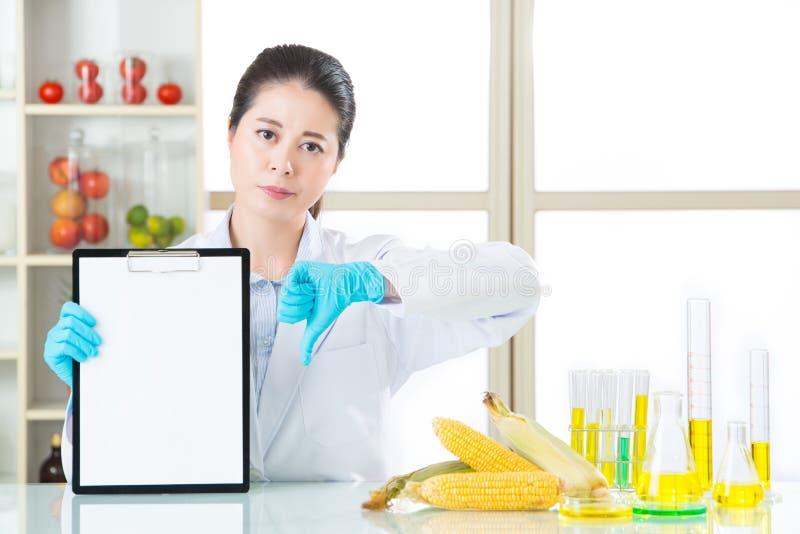 Genetyczny modyfikacja wynik testu jest zły fotografia stock