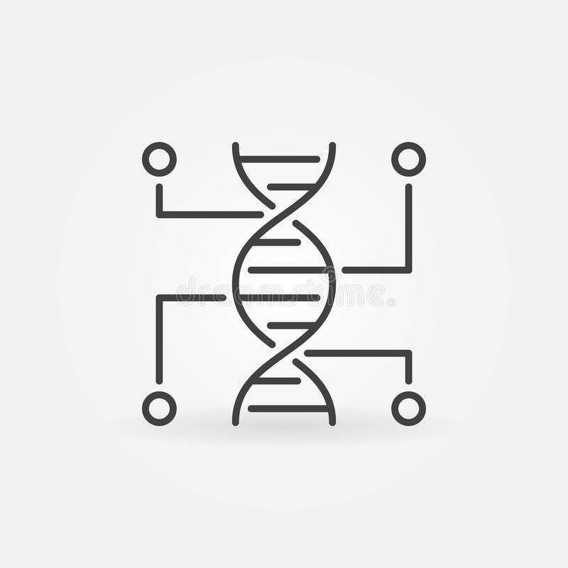 Genetyczny testowanie wektoru linii ikona DNA konturu symbol ilustracja wektor