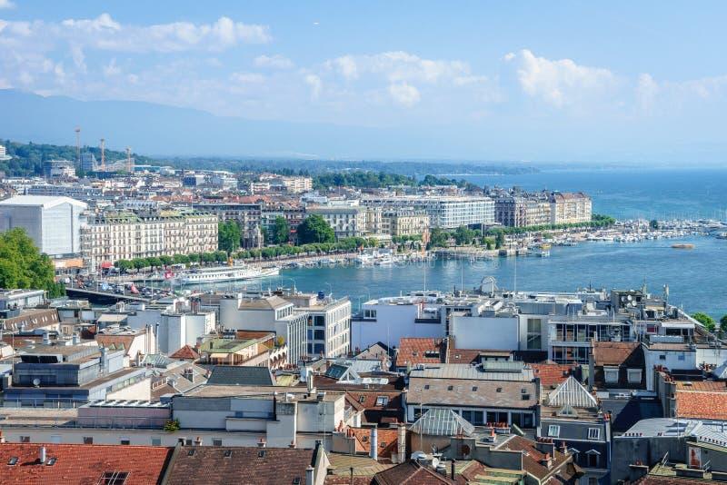 Geneva aerial, Switzerland stock photo