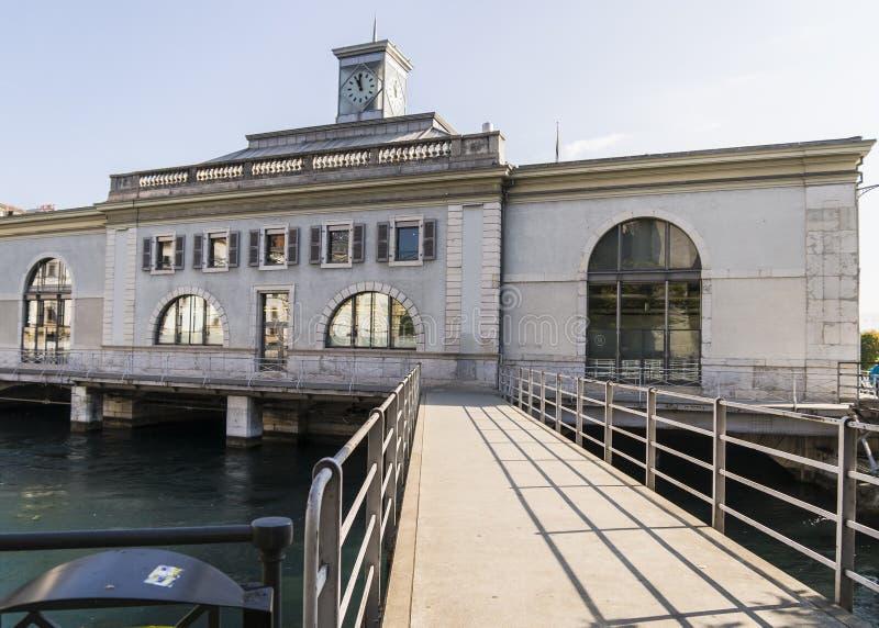 Geneva , building on river stock photos