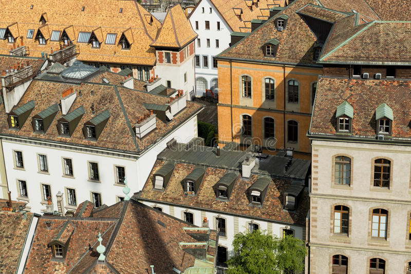Geneva city roofs stock images