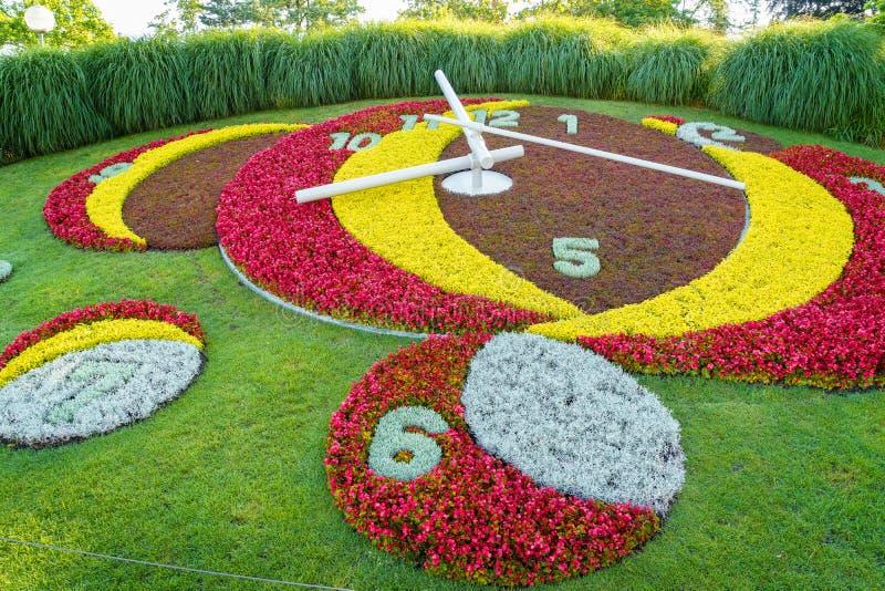 Geneva Flower Clock. Flower clock in jardin Anglais, Geneva, Switzerland. Photo taken on: June 25, 2014 royalty free stock photo