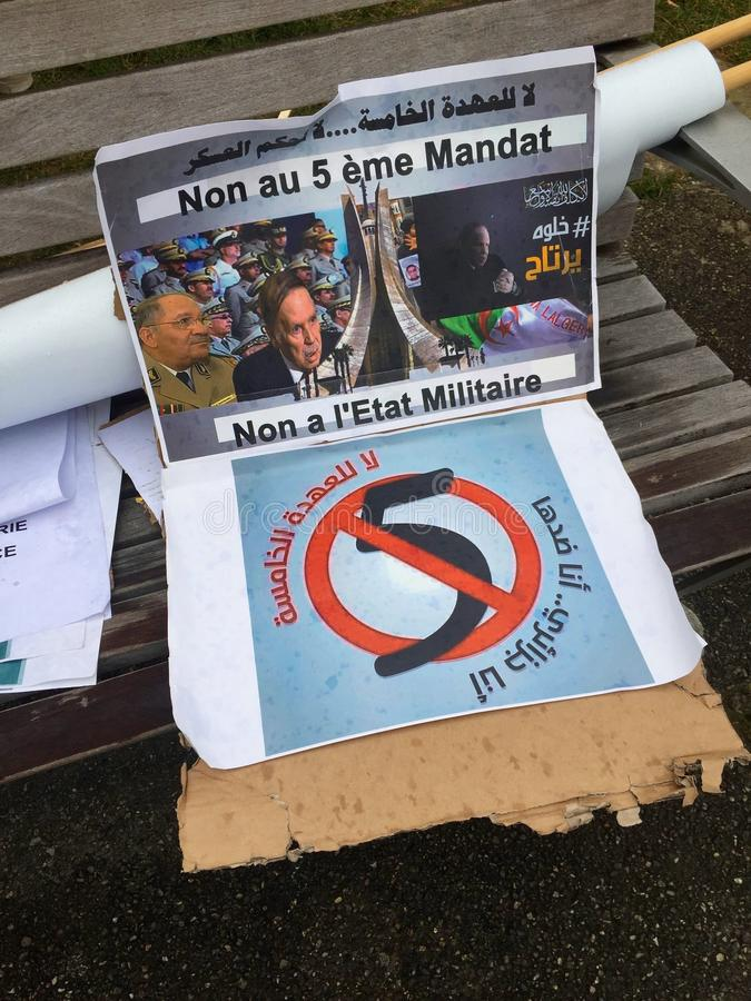 In Geneva, flyer against Bouteflika`s candidacy for election in Algeria, in front of the High Commissioner for Human Rights stock photography