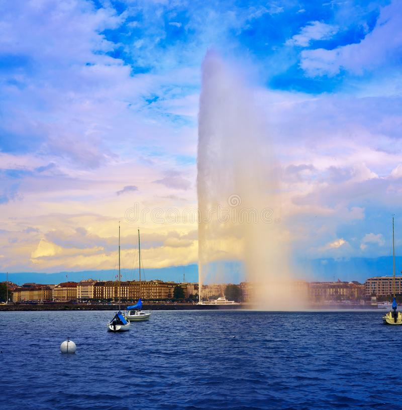 Geneva Geneve See Wasserstrahld ` Eau die Schweiz stockfoto