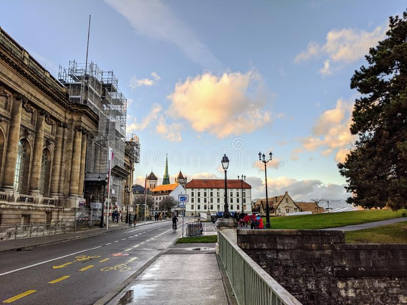 Geneva from the height of a park, Switzerland. stock photos