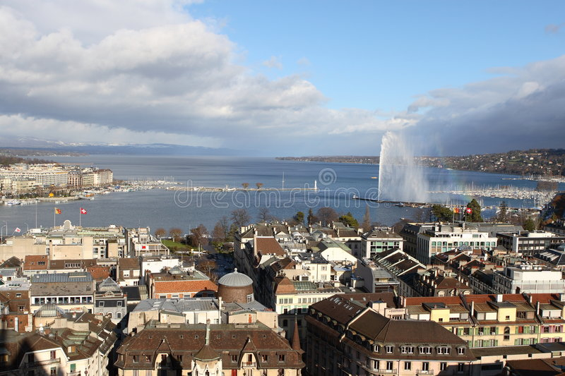 The Geneva lake and fountain royalty free stock photos