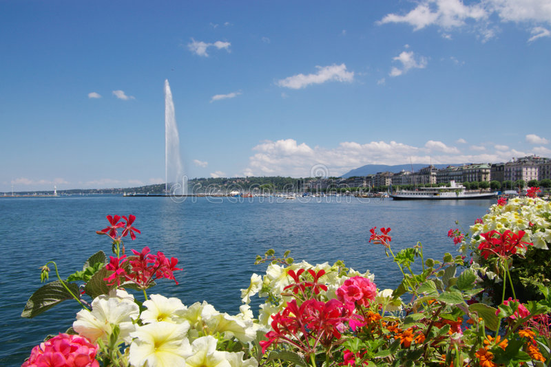 Geneva lake fountain view stock photo