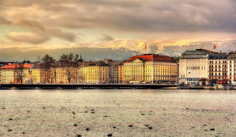 Geneva between lake and mountains. Switzerland royalty free stock image