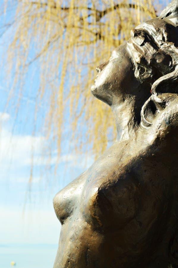 Geneva Lake and statue, Montreaux, Switzerland, Europe royalty free stock images