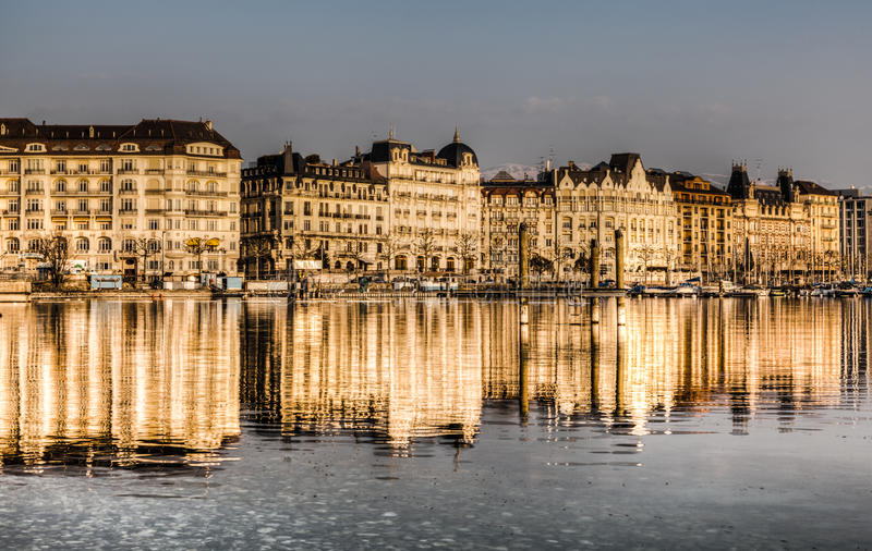 Geneva lakefront. View of the rows buildings along lake Geneva, reflected in the waters of the lake