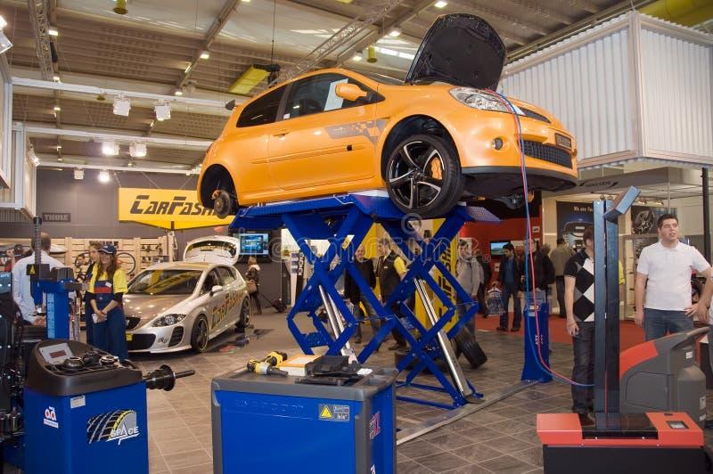 Geneva Motor Show 2009 - Car on raiser royalty free stock photo