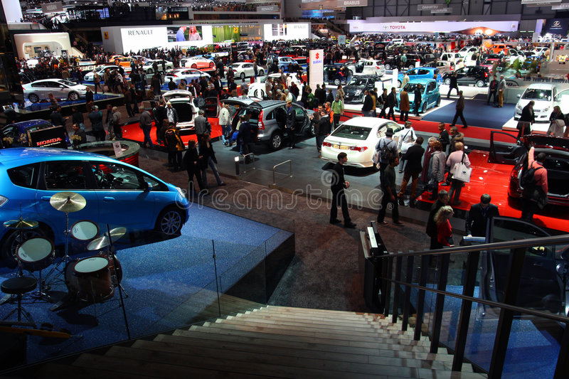 Geneva Motor Show 2009 - Overview over hall 4 royalty free stock photography