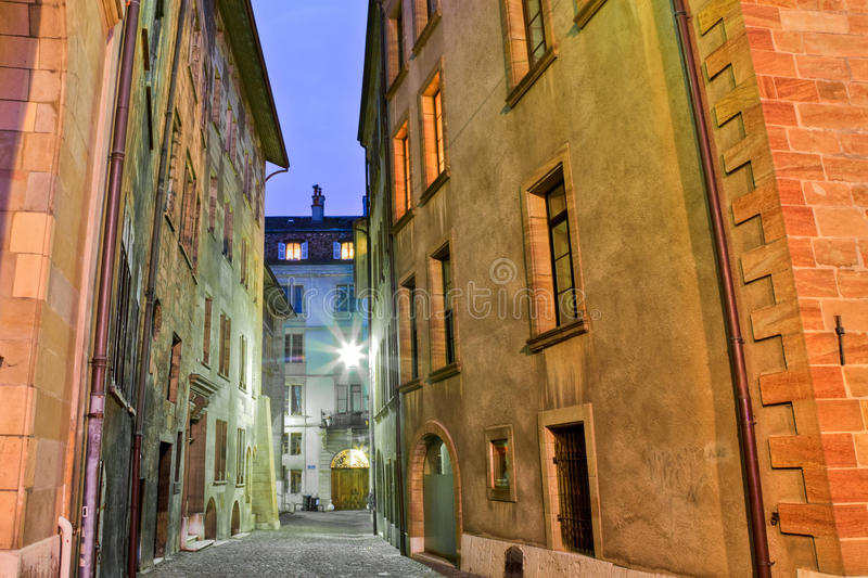 Geneva Old Town. A section of Geneva, Switzerland old town with its medieval buildings and cobbled street royalty free stock photos