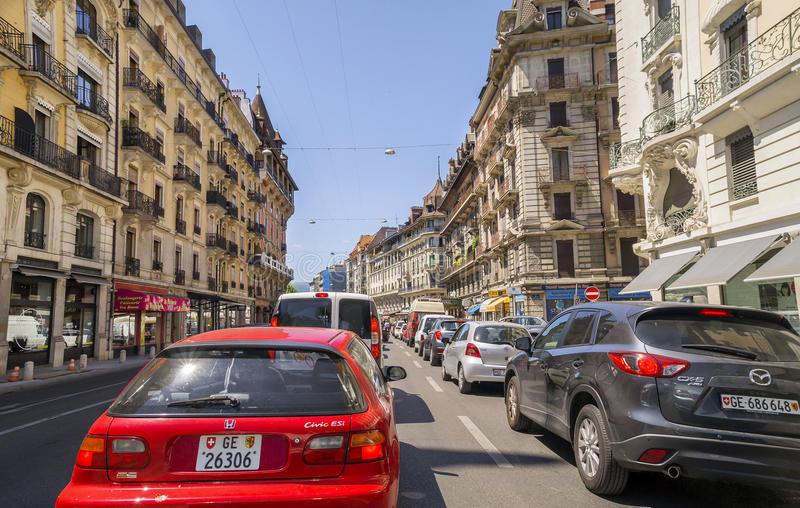 Geneva, one of the most popular Swiss city. Boulevard James-F. Geneva, one of the most popular Swiss city - center street view in summertime Architecture and stock photography