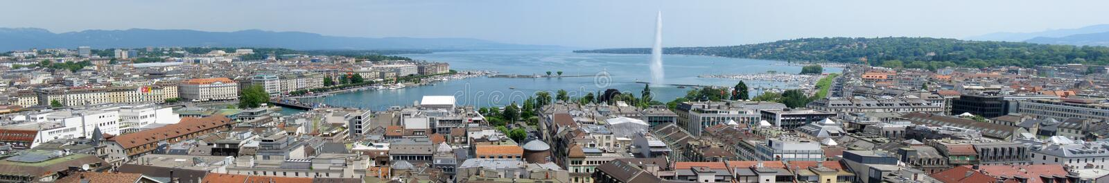 Geneva panorama. An extra wide aerial view of Geneva, Switzerland with the Jet d'Eau water fountain on the background stock images