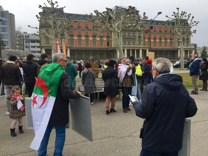 In Geneva, protest against Bouteflika`s candidacy for election in Algeria, in front of the High Commissioner for Human Rights. Geneva, Switzerland - March 9 2019 royalty free stock photos