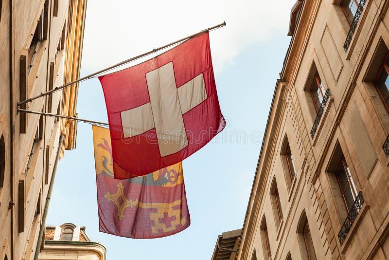 geneva Schweiziska medborgare- och stadsflaggor fotografering för bildbyråer