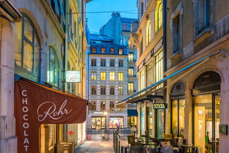 GENEVA, SWITZERLAND - February 6, 2018: Old town Geneva city at night in Switzerland. It is the second-most populous city in royalty free stock images