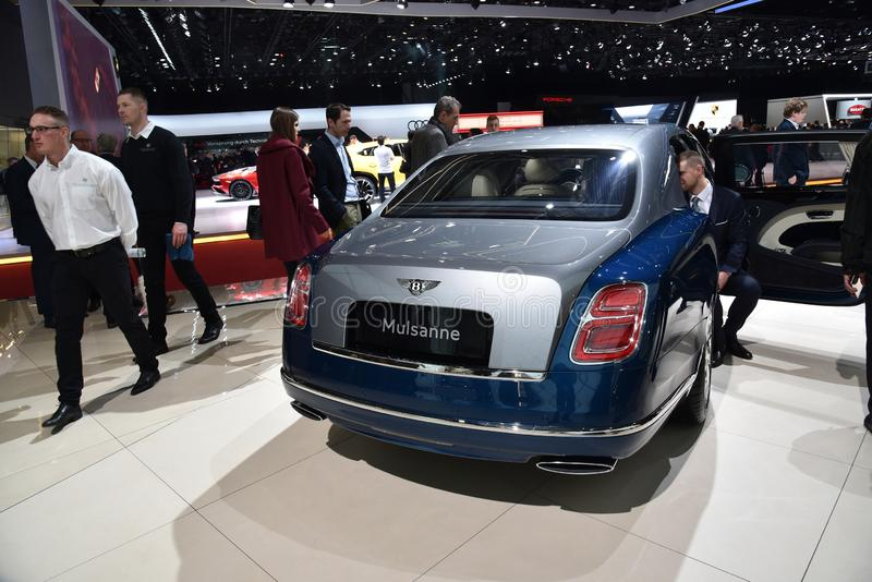Geneva, Switzerland, March 06-2018: Bentley Mulsanne at GIMS. Geneva, Switzerland, March 06-2018: Bentley Mulsanne presented at GIMS stock images