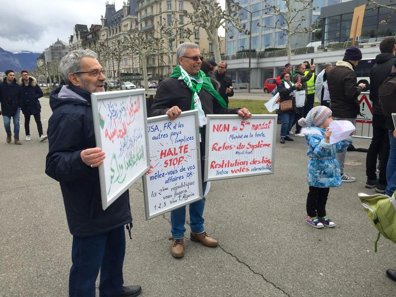 In Geneva, protest against Bouteflika`s candidacy for election in Algeria, in front of the High Commissioner for Human Rights. Geneva, Switzerland - March 9 2019 royalty free stock image