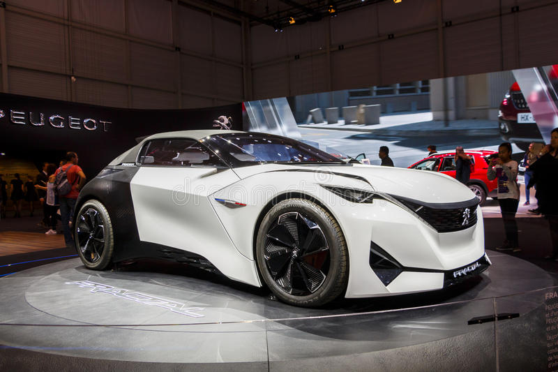 GENEVA, SWITZERLAND - MARCH 2016: Peugeot Fractal Concept Car royalty free stock photo