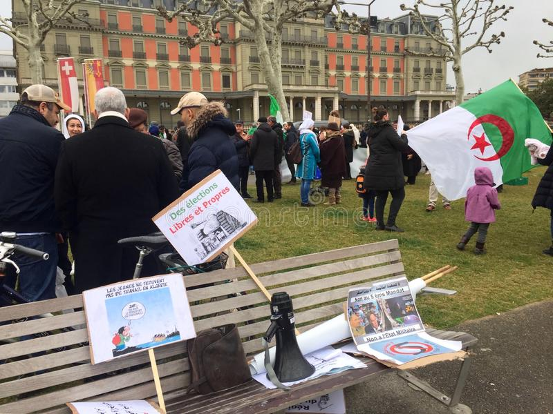 In Geneva, protest against Bouteflika`s candidacy for election in Algeria, in front of the High Commissioner for Human Rights. Geneva, Switzerland - March 9 2019 stock photos