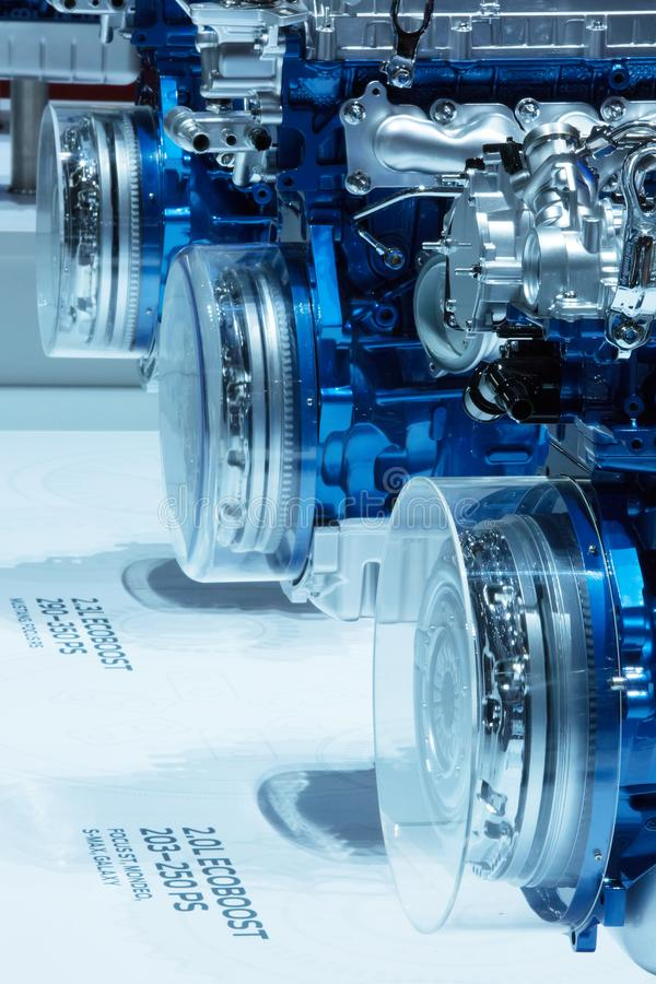 GENEVA, SWITZERLAND - March, 6th, 2018: Sample car engines in Ford Motor Company exhibition stand in 88th Geneva International royalty free stock photo