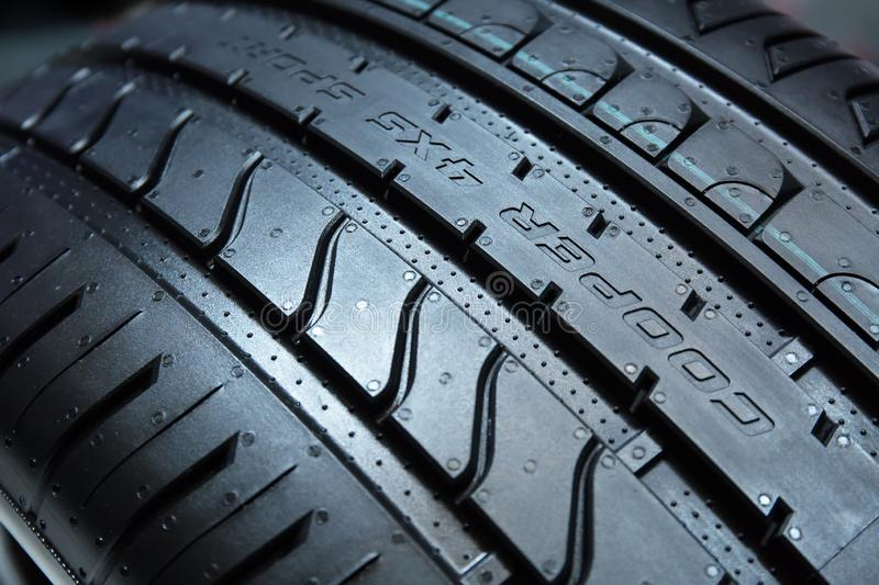 GENEVA, SWITZERLAND - March, 6th, 2018: Sample tyres in Chelsea Truck Company exhibition stand in 88th Geneva International Motor royalty free stock images