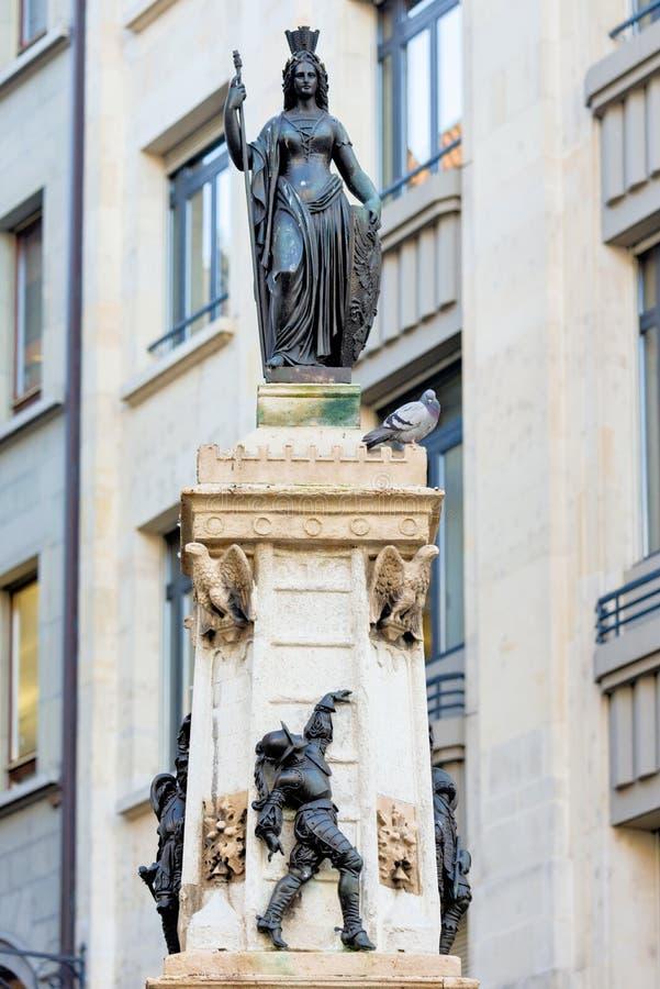 GENEVA, SWITZERLAND - October 26, 2017 : The fountain called Escalade stock photography