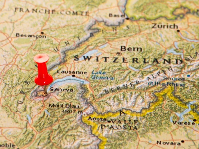 Geneva Switzerland Pinned On A Map Of Europe Stock Image Image of