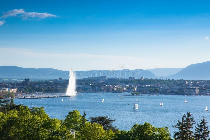 The jet of water the symbol of the city of Geneva in Switzerland stock photo