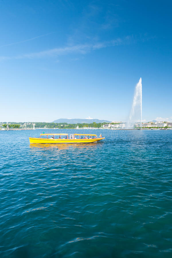 Geneva Water Fountain Mouette Passenger Boat royalty free stock photography