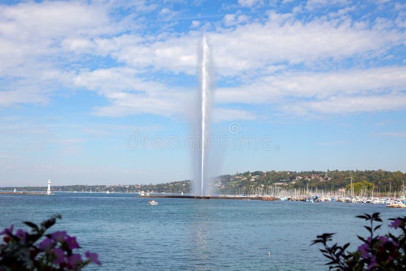 Download Geneva Water Jet On Lake Leman At Summer Stock Photo - Image: 32392186