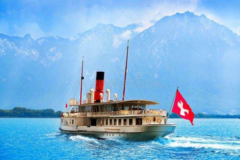 Geneve湖Leman火轮船瑞士 库存照片