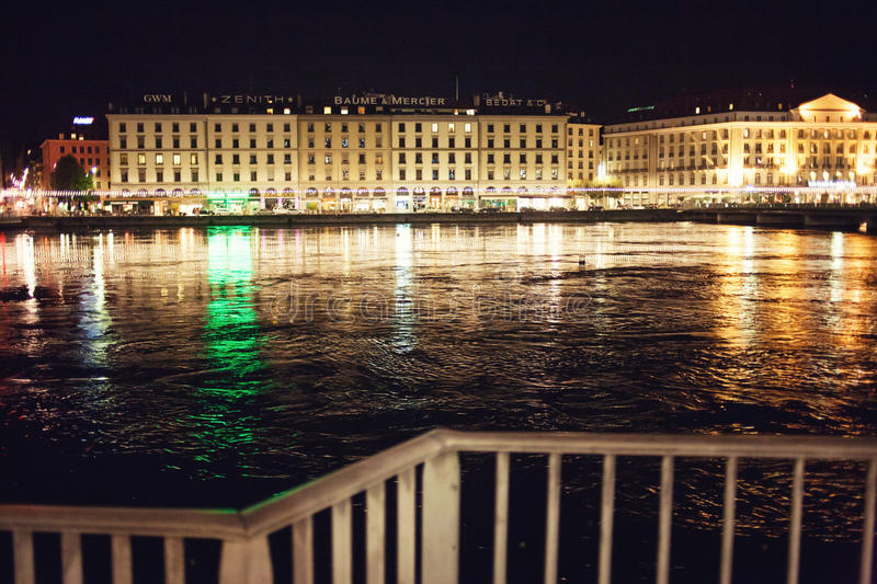 Geneve And Rhone At Night Editorial Stock Image