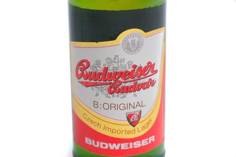 """Genewa, Szwajcaria â€â⠂¬Å/""""03 03 2019: Budweiser zieleni butelki amerykanina piwo zdjęcia stock"""