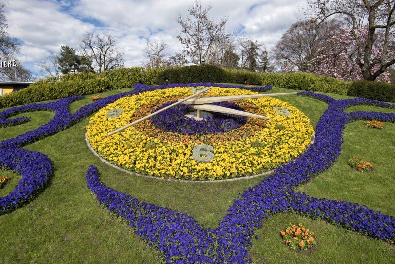 Genewa, Szwajcaria kwiatu zegar zdjęcie royalty free